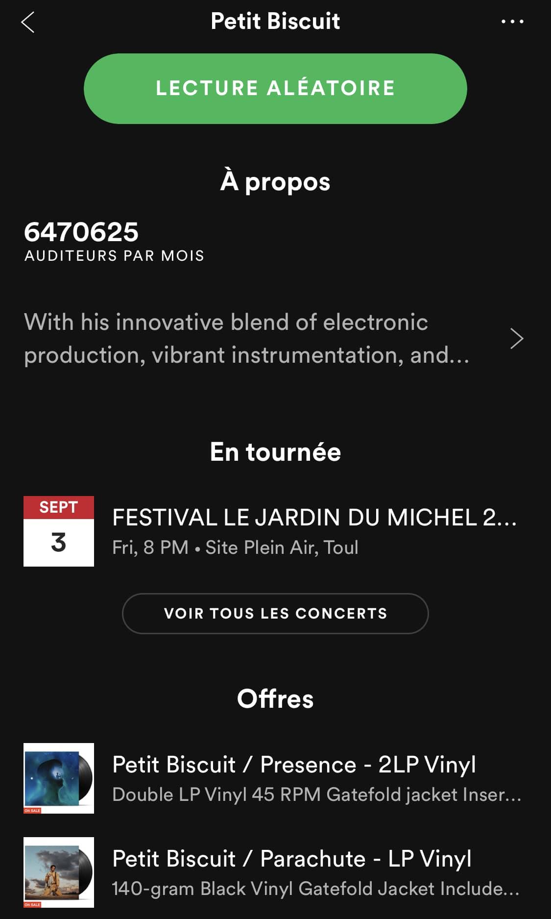 Profil de Petit Biscuit sur Spotify