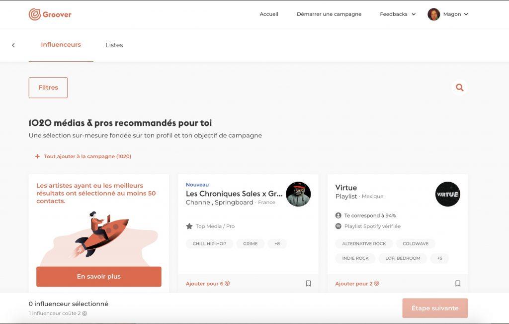 Groover vous permet de contacter les curateurs de playlists de votre choix directement, avec la garantie que votre morceau sera écouté et d'obtenir une réponse sous 7 jours.