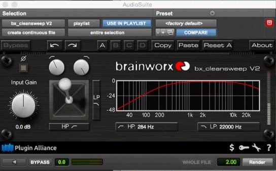 On trouve parmi les meilleurs plugins d'effets audio gratuits et disponibles sur internet : BRAINWORX BX_CLEANSWEEP - filtre hipass/lopass