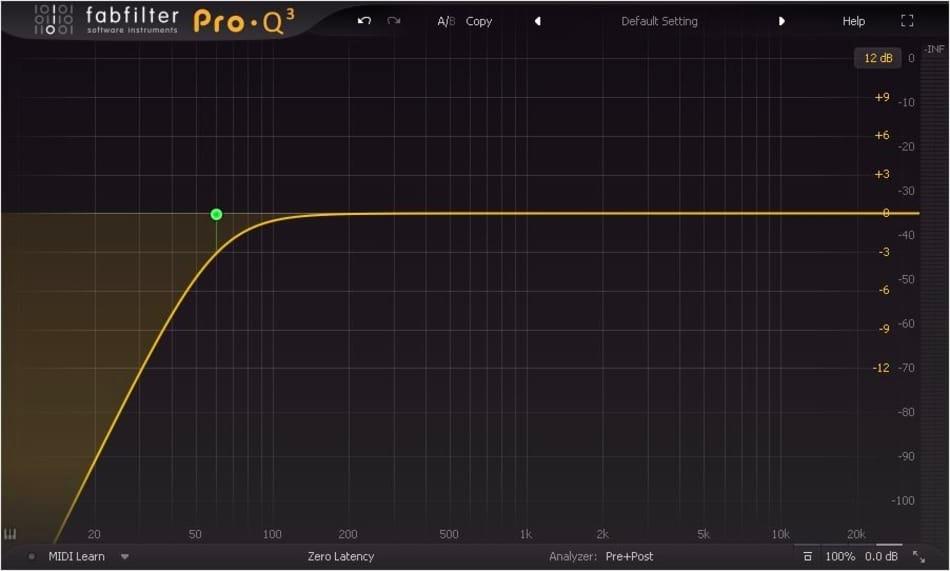 Le roll-off des basses fréquences - fabfilter Pro.Q3